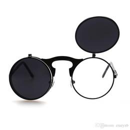 Flip Up Steampunk Gafas de sol Hombres Ronda Vintage Sunglass Diseñador de  la marca Gafas de moda 51530f524208
