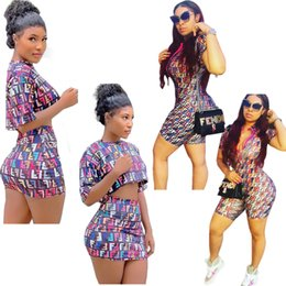 473d238be7 Women FF Tracksuit Summer Short Sleeve T-shirt + Skirt 2 Piece Set Fashion Letter  Printed Rompers Jumpsuits Bodysuits Women s Clothes A41103