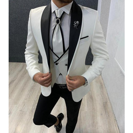 men formal waistcoat groom tuxedos UK - 3 piece White Slim fit Men Suits for Wedding Prom Shawl Lapel Formal Groom Tuxedos Man Suit Set Jacket Waistcoat with Pants
