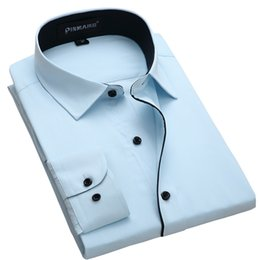 Mens Slim Fit Formal Shirts Australia - Hot Sale High Quality Male Turn Down Collar Long-sleeve Slim Fit Twill Solid Comfortable Business Formal Mens Dress Shirts Y190506