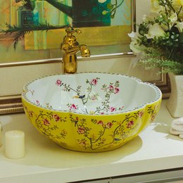 $enCountryForm.capitalKeyWord NZ - Japan Ceramic Art Basin Sink Counter Top Wash Basin Bathroom Vessel Sinks vanities new ceramic wash basin bathroom sinks black flower yellow