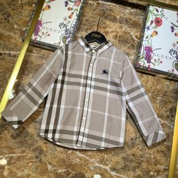 $enCountryForm.capitalKeyWord Australia - Kids designer clothing Kids shirt lapel shirt classic checkered long-sleeved shirt single button cuff pure cotton material Spring   Autumn