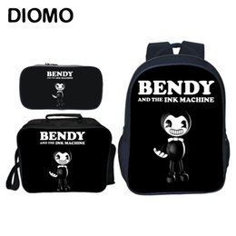 machine for boys NZ - Diomo Bendy And The Ink Machine School Bags For Teenage Girls Boys Backpack Set Male Feminina Laptop Chilren Bagpack Large Cute Y19062401
