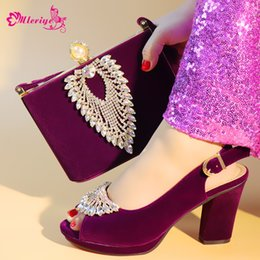 1ded086e7f4 2019 New Purple Color Luxury High Quality Elegant Italian Shoes with Matching  Bag Shoe and Bag Set African for Wedding Party