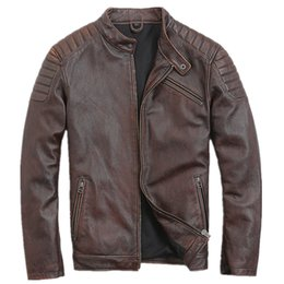 Discount free leather bikers - 2019 Retro Vintage Brown Men Genuine Leather Motorcycle Jacket Plus Size XXXL Slim Fit Short Leather Biker Coat FREE SHI