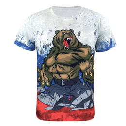Wholesale flag clothes men online – design Men Animal Bear D T Shirts Casual Flag Short Sleeve Clothes Tops Summer New Hot Fashion Male Clothes