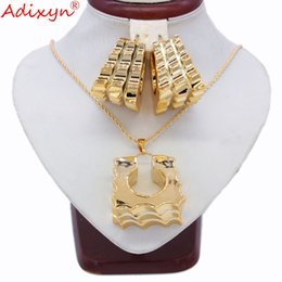 $enCountryForm.capitalKeyWord UK - Adixyn Two Desigh Square Earrings Pendant Necklace Rose Gold Color Jewelry Set For Women Gifts N031915