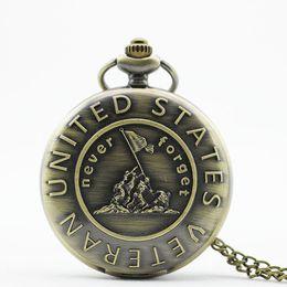 """Unique Wholesale Analog Watches Australia - Unique Souvenir Remember The History """"United States Veteran"""" Bronze Quartz Pocket Watch With Necklace Chain TD2023"""
