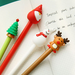 kawaii pens NZ - 10pc 0.5mm Cute Kawaii Christmas Tree Deer Style Gel Pens Lovely Santa Claus Pen for Kids Stationery Gift School Supplies HK0596