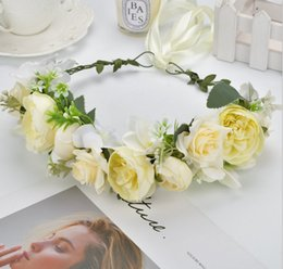 $enCountryForm.capitalKeyWord Australia - Children flowers crown big simulation flowers headband for Girls ribbon tie princess garlands kids hand made rattan weaving wreath F6967