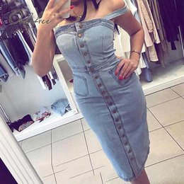6cc4f3fc5bb wholesale 2019 Summer Women Denim Dress Sundress Cotton Sarafan Overall  Dress Vintage Blue Casual Sexy Bodycon Jeans