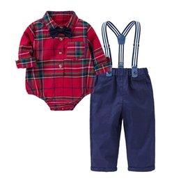 $enCountryForm.capitalKeyWord Australia - New baby boy clothes Newborn Outfits baby infant boy designer clothes baby romper+suspender trousers Boys Clothing Sets Infant suits A5699