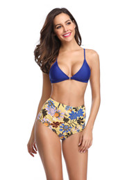 $enCountryForm.capitalKeyWord NZ - Sexy Floral Bikini Push Up Bikini Print Swimwear Women Swimsuit Two Pieces Bikini Set High Waist Padded Bra Swimming Suit Beachwear Biquini