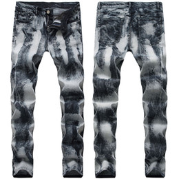Wholesale jeans europe resale online – designer 21 Styles Mens Jeans Fold Motorcycle Pants Straight Slim Fit Europe and America Ripped Hole Washed Fashion Trousers Pencil Pants Street