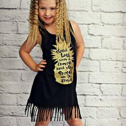 $enCountryForm.capitalKeyWord Australia - Toddler Kids Babys Girls Clothes Cotton Black Sleeveless Letter O-neck Sundress Summer Tassels Dress Kid Baby Girl Clothes 0-5T