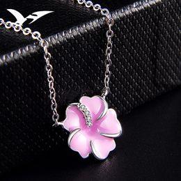 Korean Ladies Pendant Australia - S925 pure silver necklace Korean version simple flower pendant clavicle chain ladies fashion trend accessories silver ornaments