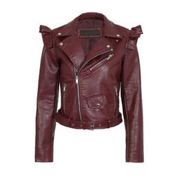 $enCountryForm.capitalKeyWord Australia - Pu Leather Jacket Women Zipper Ruffle Jackets 2019 New Autumn Winter Motorcycle Faux Leather Jacket Outerwear FTLZZ Korean Style