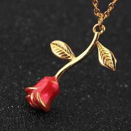 valentine gold rose 2019 - Birthday Gift for girlfriend rose flower necklace valentines day presents bridesmaid gift wedding souvenir party favor d