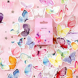mini diary sticker Australia - 46pcs box Journal Butterfl Mini Paper Stickers Decoration DIY Album Diary Scrapbooking Label Sticker Stationery