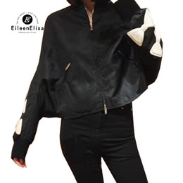 Women S Batwing Zipper Australia - Women Jackets 2019 Spring Bat Sleeved Short Jacket Fashion Bow Tie Long Sleeve Black Zipper Jacket