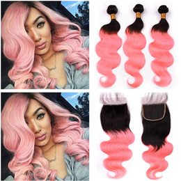 rose gold hair weave UK - Virgin Peruvian Ombre Pink Human Hair Body Wave Weave Bundles 3Pcs and Closure #1B Rose Gold Ombre Hair Wefts with 4x4 Lace Closure