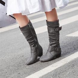 $enCountryForm.capitalKeyWord Australia - YMECHIC 2019 Autumn New Womens Boots Mid Calf High Botas Flock Black Red Gray Blue Buckle Strap High Block Heels Ladies Shoes