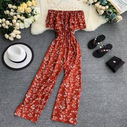 Chiffon Beach Trousers Australia - Layered Ruffled Strapless Off-Shoulder Chiffon Frolar Print Jumpsuit Women Polka dot Wide leg Pants Beach Holiday Long Trouser
