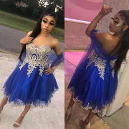 gorgeous homecoming dresses 2021 - Gorgeous Royal Blue Sweetheart Tulle Homecoming Dresses Sweet 16 Lace-up Back Short A Line Prom Dresses With Gold Appliq