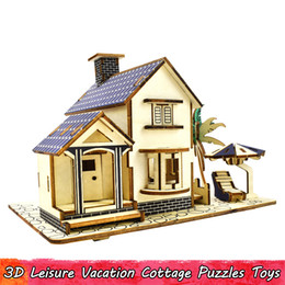 cottage home decor UK - Wooden 3D Leisure Vacation Cottage Puzzles Toys for Kids Teens Creative Assembled Building Model Kits Educational Hobbies Gifts Home Decor
