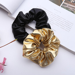tie ponytail hair extensions NZ - Women Pu Faux Leather Elastic Hair Ties Girls Hairband Rope Ponytail Holder Scrunchie Gold Black Headbands Accessories 2019