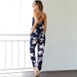 one piece romper woman UK - New Trendy Women clothes Summer Bodycon Party backless Flower print Jumpsuit sleeveless Polyester V-neck Romper one pieces