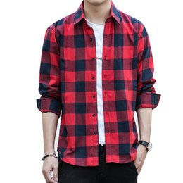 blue red checkered shirt UK - Autumn Men's Plaid Shirt Long Sleeve Casual Plaid Shirt Men Fashion Slim Fit Chemise Homme Mens Checkered Shirts Top Blouse Male