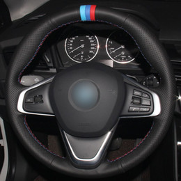$enCountryForm.capitalKeyWord Australia - Black Natural Leather Light Blue Blue Red Marker Car Steering Wheel Cover for BMW 220i 218i 225xe