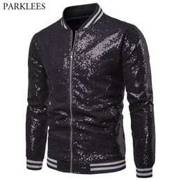 $enCountryForm.capitalKeyWord NZ - Black Sequin Glitter Embellished Jacket Men 2018 Nightclub DJ Prom Baseball Jackets Coats Mens Hip Hop Streetwear Veste Homme