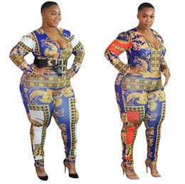plus size fashion jumpsuits rompers NZ - Womens Designer Plus Size Jumpsuits Fashion Printed One Piece Suits Sexy Skinny Fit V-neck Long Sleeved Rompers Women Clothing