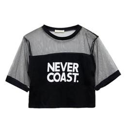 Black Gauze T Shirt Australia - 2016 Hot Wholesale Sexy Women Girls Loose Crop Top T-Shirt Crew Neck See-through Gauze Tops New Arrival ZT1 B3