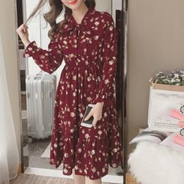 $enCountryForm.capitalKeyWord Australia - Summer Korean Chiffon Women Dress Elegant Ladies Vintage Long Dress Boho Floral Office Long Sleeve Vestidos Clothing 5lyq003 T4190613