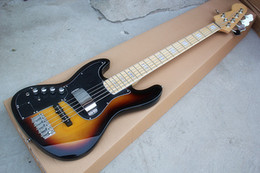 Left Handed Basses Bodies Australia - Wholesale Direct 5-string Left Hand Sunburst Electric Bass Guitar with Black Pickguard,Maple Fretboard,can be customized.