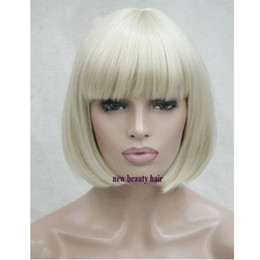 blonde bob wigs bangs Australia - Fashion Blonde color Short Bob Wigs with Baby Hair Heat Resistant Glueless Synthetic Lace Front Wigs with bangs for American Black Women
