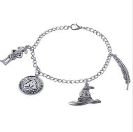 ancient gold coins UK - Movie Charm Bracelet Ancient Silver Pendant Bracelet Talking Hat Coin Charm Bangle Cuff Jewelry Christmas Gift F0063