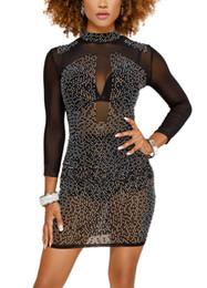 Vente en gros Sexy Femmes Maille Sheer Robe Strass Manches Longues Femme Robe Col Haut Night Club Robes De Soirée Automne Vestidos De Festa