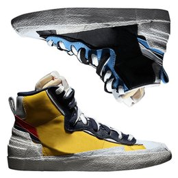 faad44b7d0c Top Quality Sacai Blazer Dunk High Collaboration Skateboard Shoes Men Women  SB Mid Yellow Blue Casual Sneakers Size 36-44