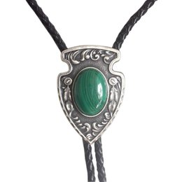 $enCountryForm.capitalKeyWord Australia - India Vintage Leather Tie Silver Plated Nature Malachite Stone Necklace Pendant Tie