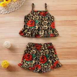 $enCountryForm.capitalKeyWord NZ - Baby Girl Rose Leopard Printing Two-piece Set Sleeveless T Shirt and Shorts 2 Pcs Suits for Children Kids Clothes Girls 70-100cm