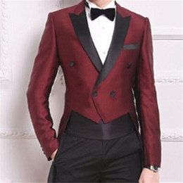 Discount white tail suits - Wine Red Swallow Tailed Coat Men Suits For Wedding 2Pieces(Jacket+Pants+Tie) Fashion Custom Homme Terno Slim Fit Blazer