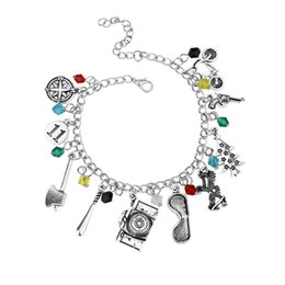 sherlock jewelry UK - Sherlock Bracelet Antique Silver Sherlock Holmes 221B Charm Collection Bracelet Bangle Cuffs for Women Fashion Jewelry