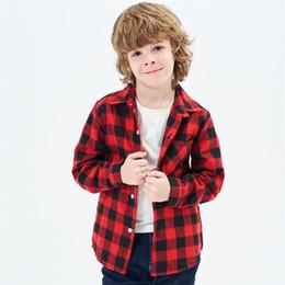 $enCountryForm.capitalKeyWord Australia - 18 Styles INS Kids Boys Girls Flannel Shirts Soft 100% Cotton Plaid Shirts Front Buttons Bust Pocket Design Turn-down Collar Children Shirts