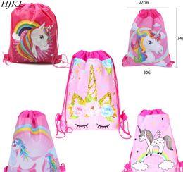 Drawstring School Bags Australia - HJKL Unicorn Drawstring bag for Girls Travel Storage Package Cartoon School Backpacks Children Birthday Party Favors skull bag