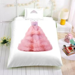 Queen size princess bedding online shopping - Princess Dress Printed Bedding Set Queen Size Lovely Creative D Duvet Cover King Home Dec Double Single Bed Set With Pillowcase