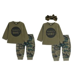 camouflage clothes for baby boys UK - Baby Boy Clothes Cotton Camo Pants 2pcs Baby Boy Girls Camouflage Clothes Outfit Toddler Set For Boys Infant Clothes Set